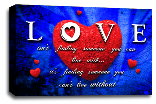 Love Heart Wall Art Picture Quote Red Grey Blue Canvas Print